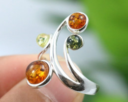 Natural  Baltic Amber Sterling Silver  Ring size N  code GI 138