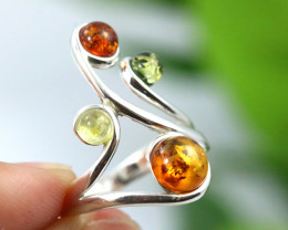 Natural  Baltic Amber Sterling Silver  Ring size T  code GI 146