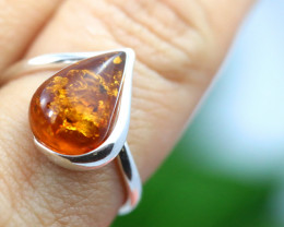 Natural  Baltic Amber Sterling Silver  Ring size L  code GI 148