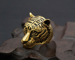 Tiger Ring   -Gold plated Titanium size  P  code CCC 1346