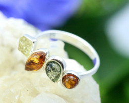 Natural  Baltic Amber Sterling Silver  Ring size L  code GI 160