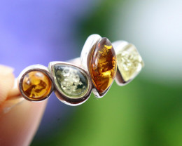 Natural  Baltic Amber Sterling Silver  Ring size N  code GI 162