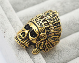 Skull chief Ring -Gold plated Titanium size P code CCC 1349