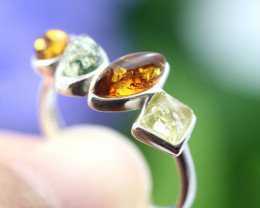 Natural  Baltic Amber Sterling Silver  Ring size N  code GI 163