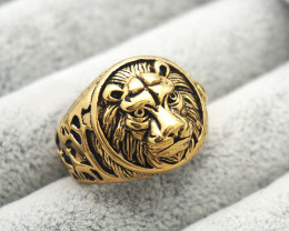 Lion  Ring   -Gold plated Titanium size  P  code CCC 1350