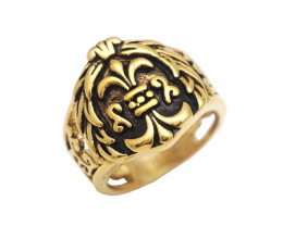 House Crown  Ring   -Gold plated Titanium size  P  code CCC 1354