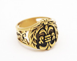 House Crown Ring    -Gold plated Titanium size  P  code CCC 1356