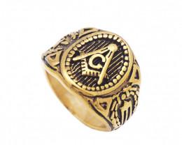 Freemason  Ring   -Gold plated Titanium size  P  code CCC 1362