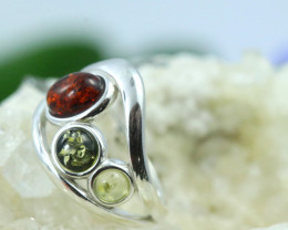 Natural  Baltic Amber Sterling Silver  Ring size N  code GI 175