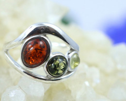 Natural  Baltic Amber Sterling Silver  Ring size R  code GI 180