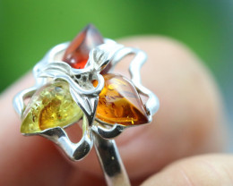 Natural  Baltic Amber Sterling Silver  Ring size T  code GI 218