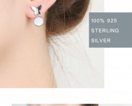 Cute Modern Pearl reflection 925 Sterling Silver Earrings  CCC 1404