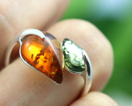 Natural  Baltic Amber Sterling Silver  Ring size L  code GI 220