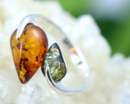 Natural  Baltic Amber Sterling Silver  Ring size N  code GI 223