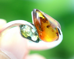 Natural  Baltic Amber Sterling Silver  Ring size P  code GI 226
