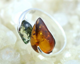 Natural  Baltic Amber Sterling Silver  Ring size R  code GI 228