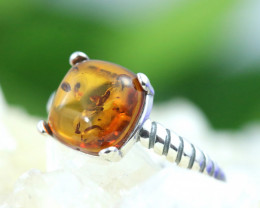 Natural  Baltic Amber Sterling Silver  Ring size N  code GI 233