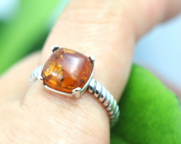 Natural  Baltic Amber Sterling Silver  Ring size N  code GI 234
