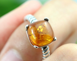 Natural  Baltic Amber Sterling Silver  Ring size T  code GI 241