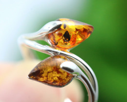 Natural  Baltic Amber Sterling Silver  Ring size L  code GI 243