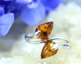 Natural  Baltic Amber Sterling Silver  Ring size N  code GI 245