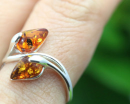 Natural  Baltic Amber Sterling Silver  Ring size P  code GI 249