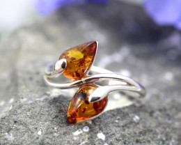 Natural  Baltic Amber Sterling Silver  Ring size T  code GI 253