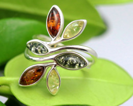 Natural  Baltic Amber Sterling Silver  Ring size L  code GI 255