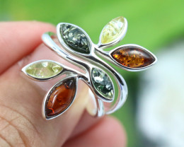 Natural  Baltic Amber Sterling Silver  Ring size T  code GI 264