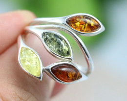 Natural  Baltic Amber Sterling Silver  Ring size L  code GI 266