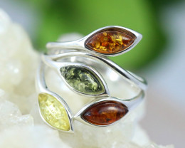 Natural  Baltic Amber Sterling Silver  Ring size N  code GI 268