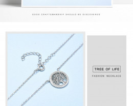 Tree Of Life Modern 925 Sterling Silver Pendant & chain CCC 1422