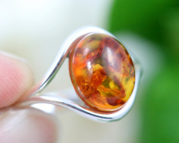 Natural  Baltic Amber Sterling Silver  Ring size N  code GI 317