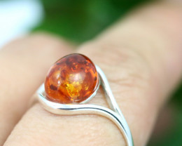 Natural  Baltic Amber Sterling Silver  Ring size P  code GI 320