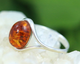 Natural  Baltic Amber Sterling Silver  Ring size R  code GI 322