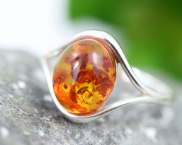 Natural  Baltic Amber Sterling Silver  Ring size T  code GI 324