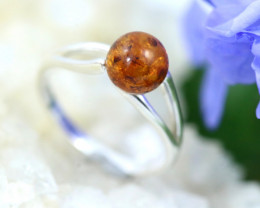 Natural  Baltic Amber Sterling Silver  Ring size N  code GI 328