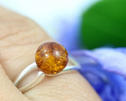 Natural  Baltic Amber Sterling Silver  Ring size R  code GI 334
