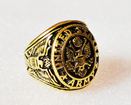 Ancient Shield  Ring -Gold plated Titanium size P code CCC 1359
