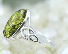 Natural  Baltic Amber Sterling Silver  Ring size N  code GI 409