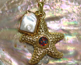 Aussie Sea Collection -Fresh water pearl & Opal pendant CCC 1451