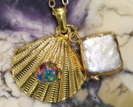 Aussie Sea Collection -Fresh water pearl & Opal pendant CCC 1464