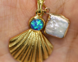 Aussie Sea Collection -Fresh water pearl & Opal pendant CCC 1467