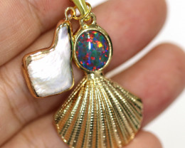 Aussie Sea Collection -Fresh water pearl & Opal pendant CCC 1470