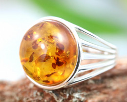 Natural  Baltic Amber Sterling Silver  Ring size T  code GI 487