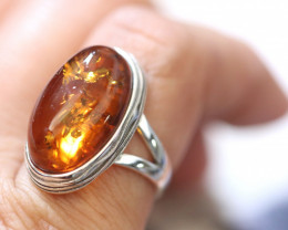 Natural  Baltic Amber Sterling Silver  Ring size N  code GI 518