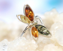 Natural  Baltic Amber Sterling Silver  Ring size N  code GI 589
