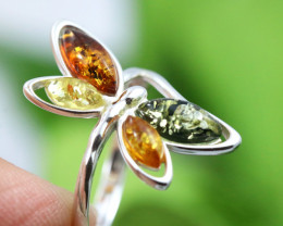 Natural  Baltic Amber Sterling Silver  Ring size P  code GI 593