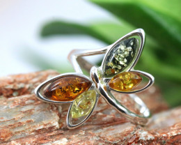 Natural  Baltic Amber Sterling Silver  Ring size T  code GI 595