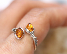 Natural  Baltic Amber Sterling Silver  Ring size L  code GI 597